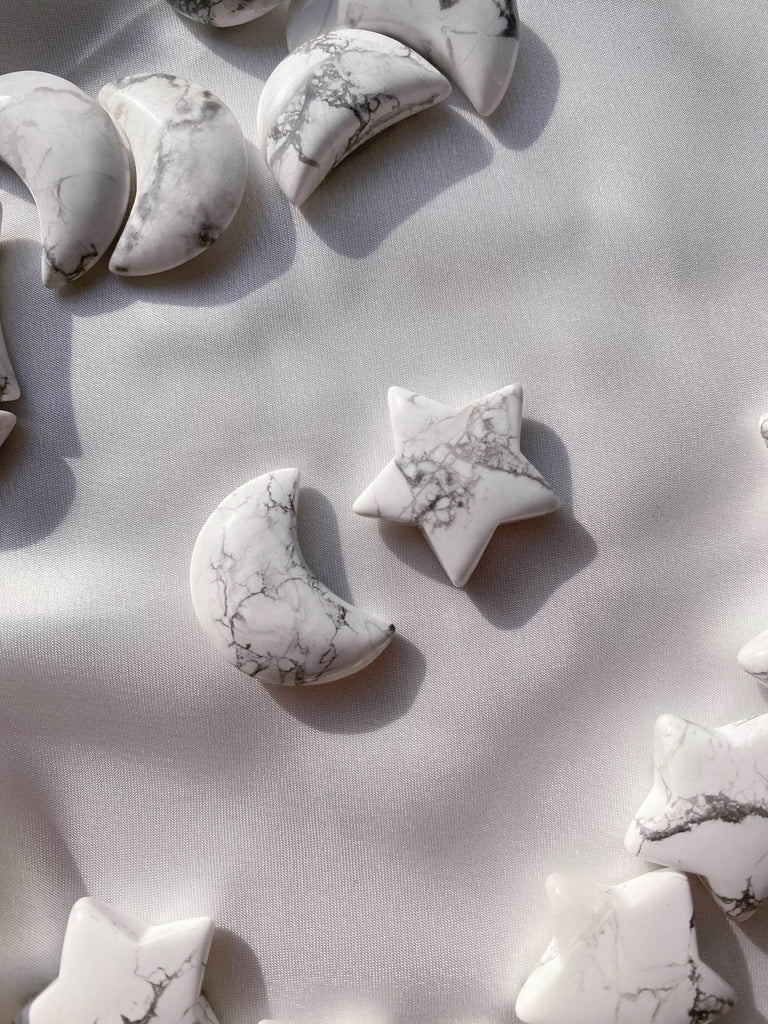 Howlite Star and Moon - Caring Crystals