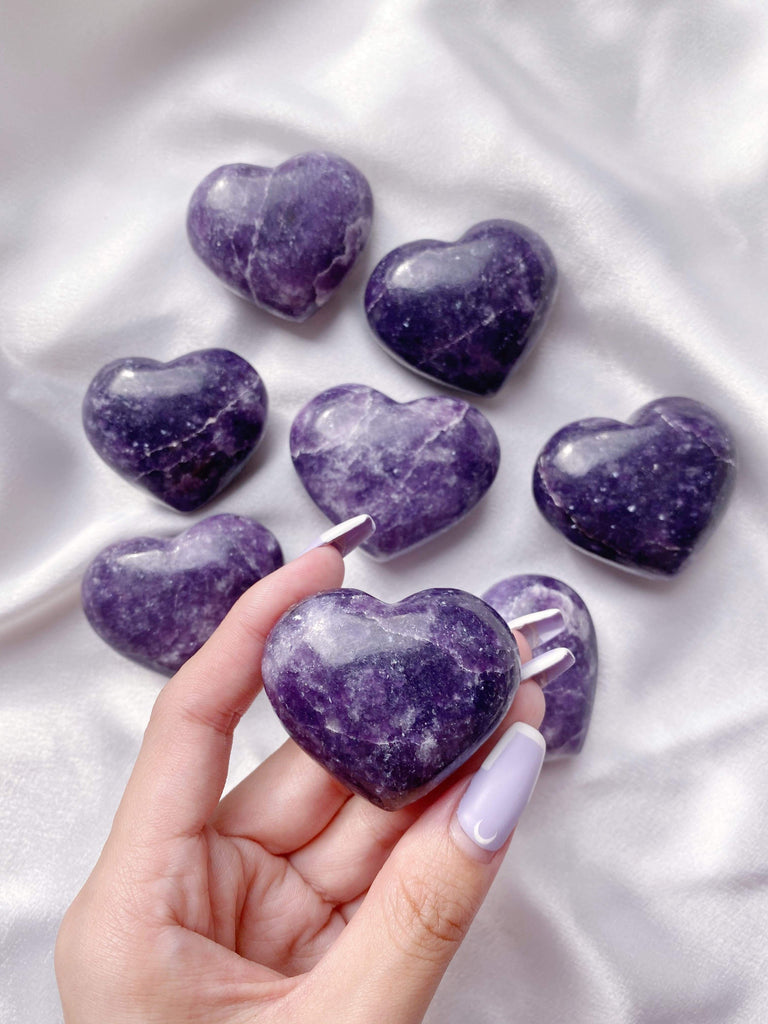 Lepidolite Heart Carving - Caring Crystals