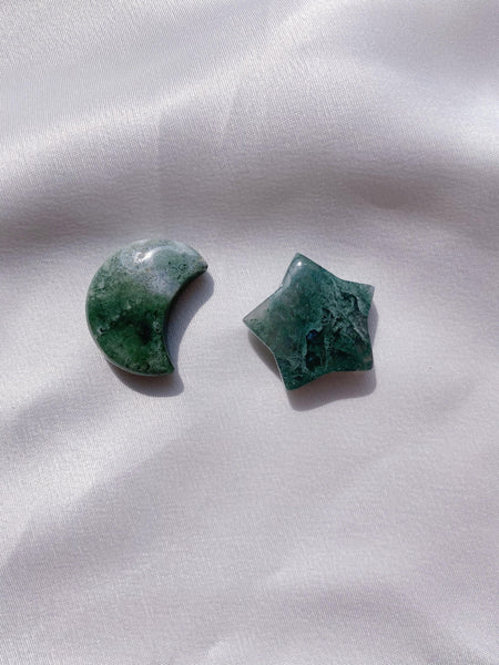 Moss Agate Star and Moon - Caring Crystals