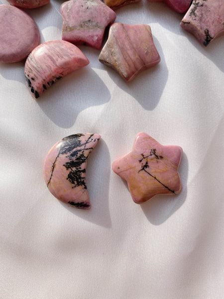 Rhodonite Star and Moon - Caring Crystals