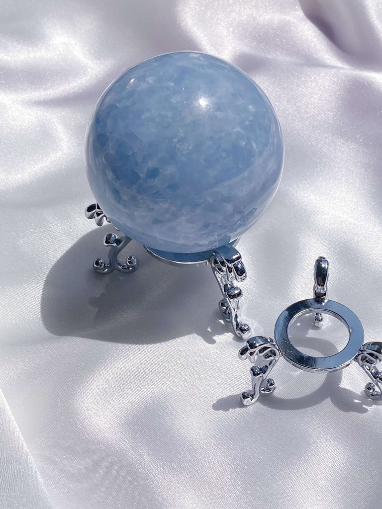 Silver Metal Sphere Stand - Caring Crystals