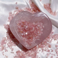 high quality healing crystal rose quartz hearts and chips
