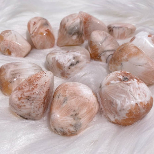 high quality healing crystal pink scolecite tumbled stones