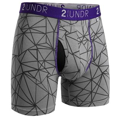 MENS BOXER BRIEF - GREY/PURPLE PRINT