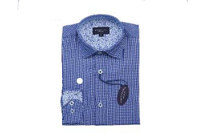 BOYS ROYAL MICRO CHECK - BLUE