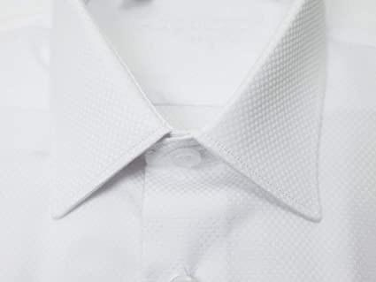 BOYS SLIM FIT BOX WEAVE DRESS SHIRT - WHITE