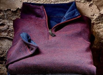 REVERSIBLE 1/4 ZIP SWEATER - BURGUNDY