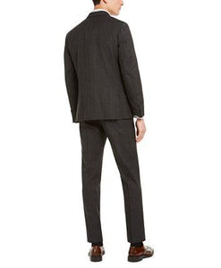 DKNY CHARCOAL/BROWN PLAID SUIT