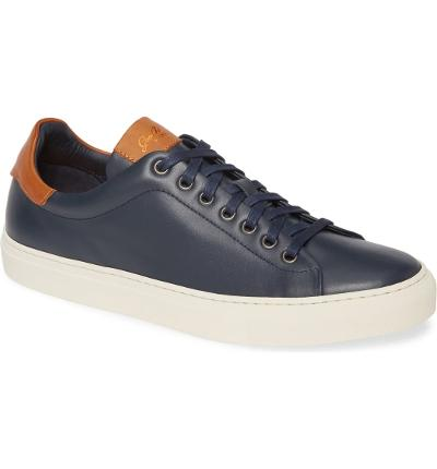 EDGE LEATHER SNEAKER - NAVY