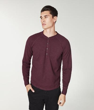 SOFT SLUB LONG SLEEVE HENLEY - WINE
