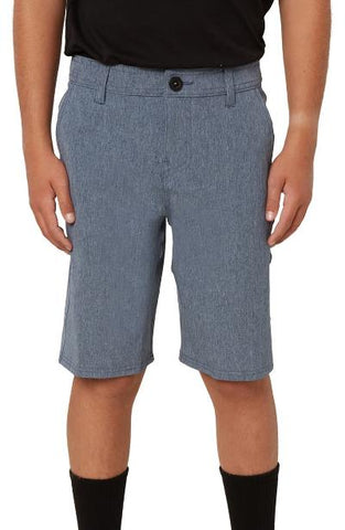BOYS REVERSE HEATHER HYBRID SHORT - NAVY HEATHER