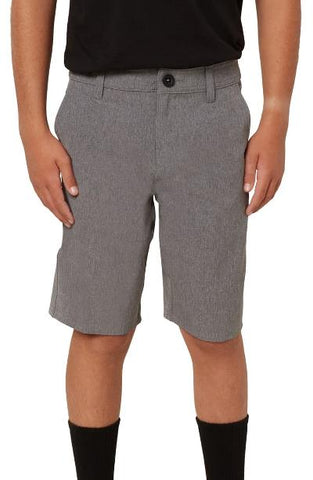 BOYS REVERSE HEATHER HYBRID SHORT - GREY HEATHER