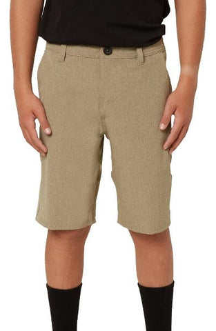 BOYS REVERSE HEATHER HYBRID SHORT - KHAKI HEATHER