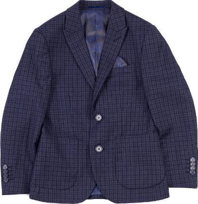 BOYS EAZY PEAZY CHECK BLAZER - NAVY