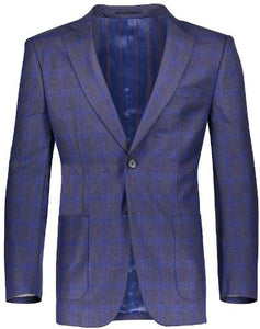 MENS PLAID BLAZER - BLUE