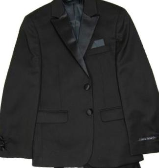 BOYS TUX JACKET - BLACK