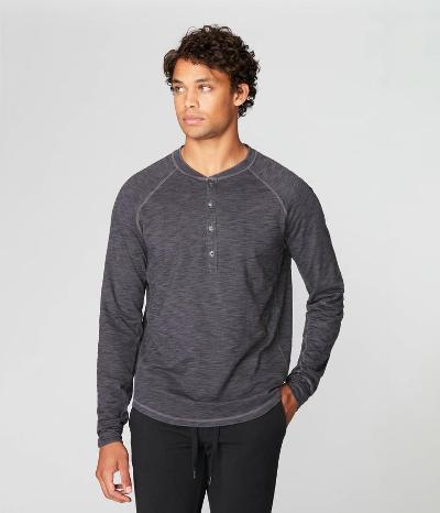 SOFT SLUB LONG SLEEVE HENLEY - MAGNET