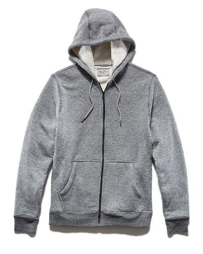 SHERPA LINED ZIP UP HOOD - GREY