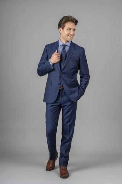 MODERN SLIM 100% WOOL SUIT - COBAL
