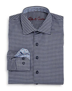 BOYS BESSEMER HOUNDSTOOTH SHIRT - NAVY