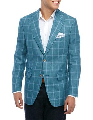 LINEN WINDOWPANE SPORT COAT - SEAFOAM