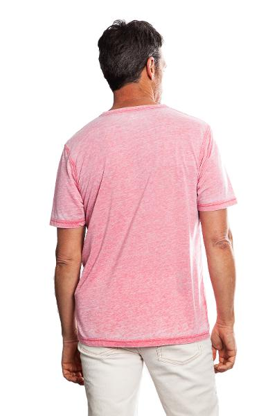 BOWERY BURNOUT SPLIT TEE - RED