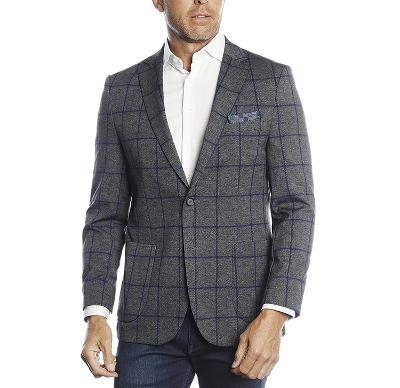 BIG CHECK TRAVEL BLAZER - GREY/BLUE