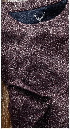 LS RIB BRUSH CREW - BURGUNDY