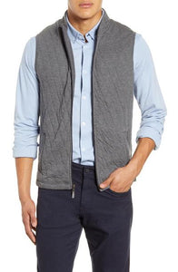 ZIP UP QUILT VEST - GREY