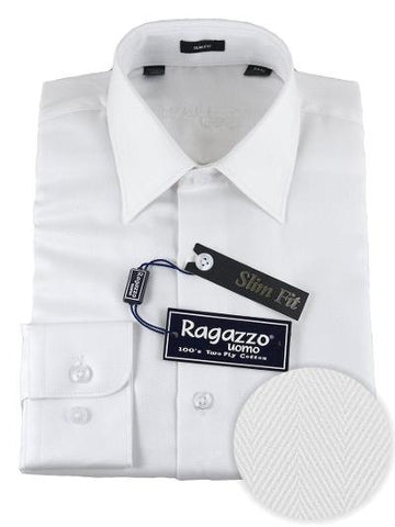 BOYS SLIM FIT HERRINGBONE DRESS SHIRT - WHITE