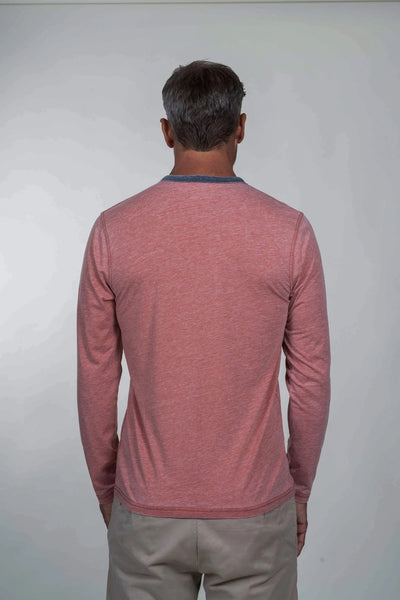 LONG SLEEVE BURNOUT HENLEY - ORANGE