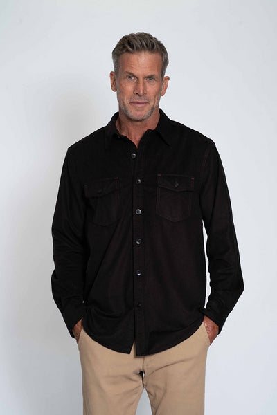 SUEDED LS CHECK SHIRT - BROWN