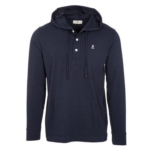 LS PLACKET HOODED T - navy
