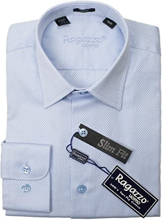 BOYS SLIM FIT BOX WEAVE DRESS SHIRT - LT BLUE