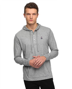 LS PLACKET HOODED T - GREY