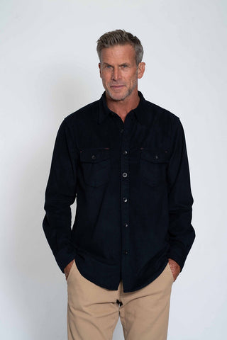 SUEDED LS CHECK SHIRT - NAVY