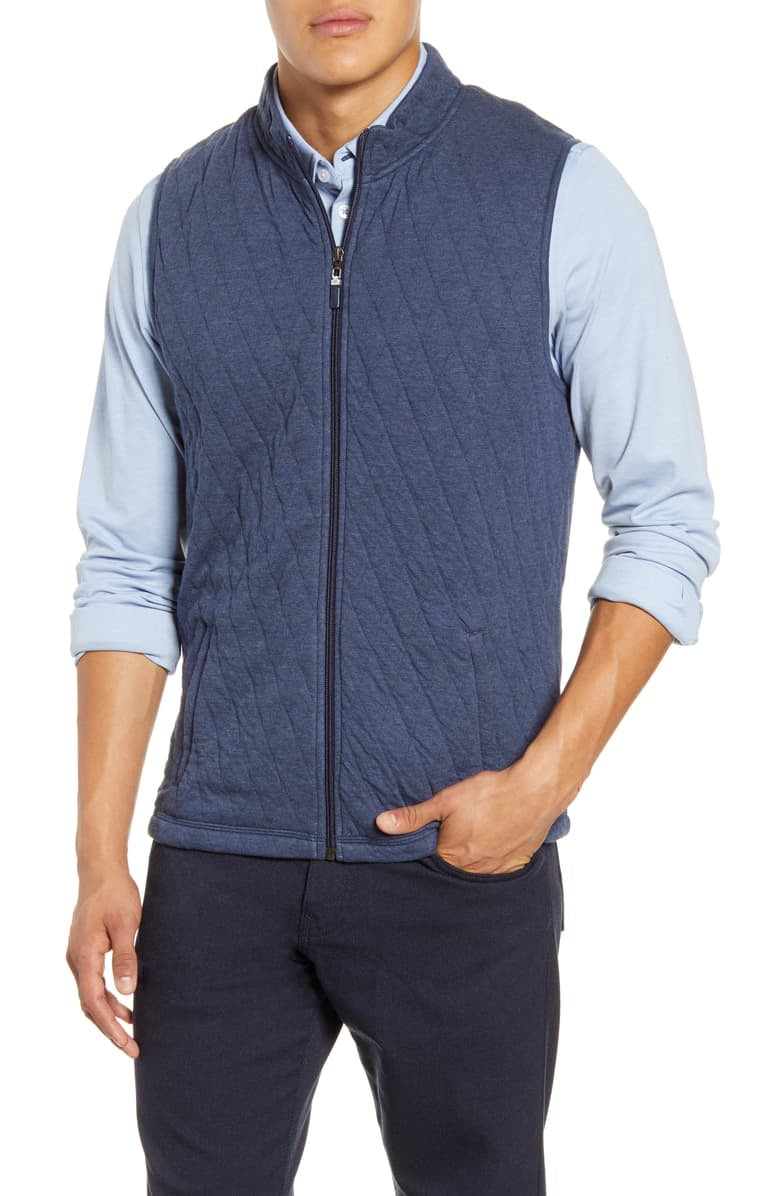 ZIP UP QUILT VEST - NAVY