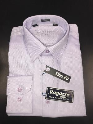 BOYS SLIM FIT DIAGONAL DRESS SHIRT - LAVENDER