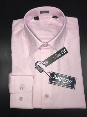 BOYS SLIM FIT DIAGONAL DRESS SHIRT - PINK