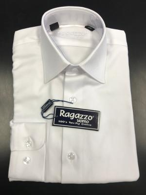 BOYS REGULAR FIT DIAGONAL DRESS SHIRT - WHITE