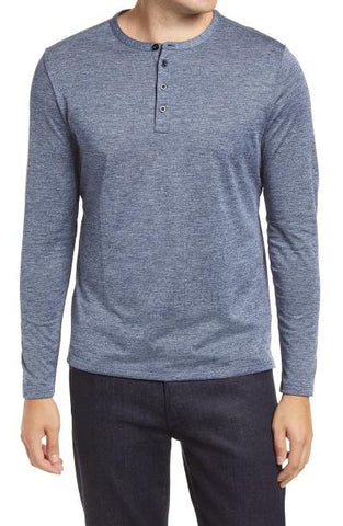 GILBERT LONG SLEEVE HENLEY - BLUE