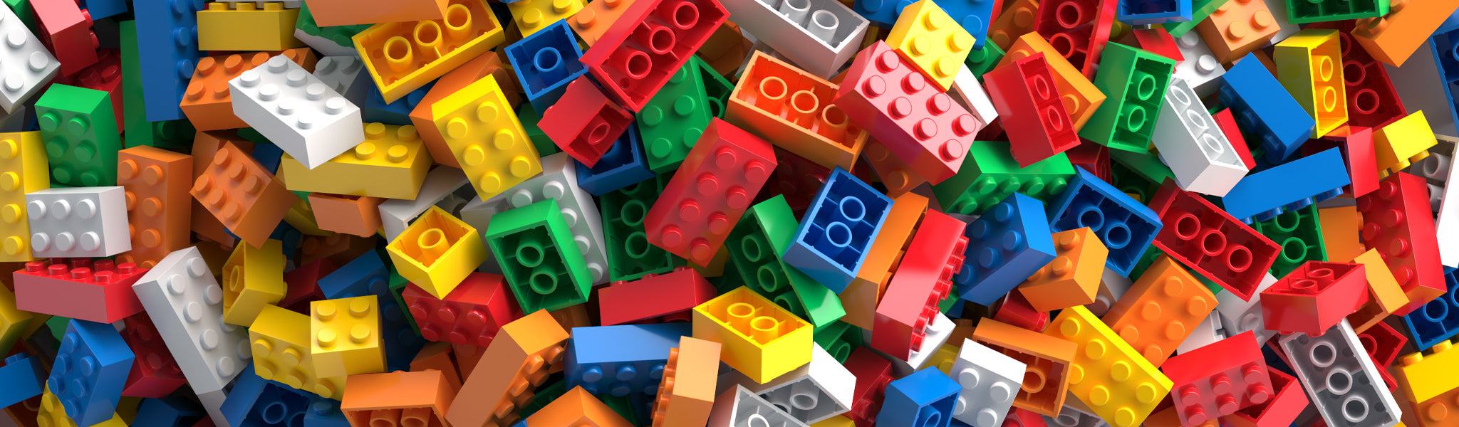 pile of brightly coloured building bricks