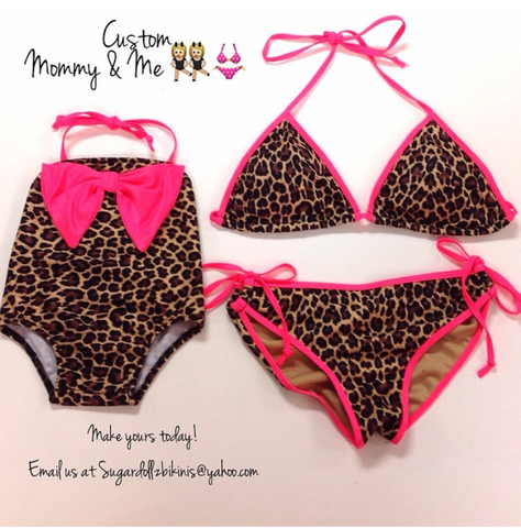 Hot Pink Leopard Mommy & Me Bikini (Mommy)