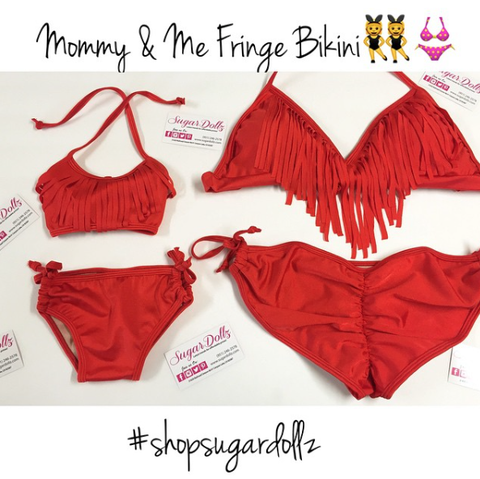 Mommy & Me Red Fringe Bikini (Mommy)
