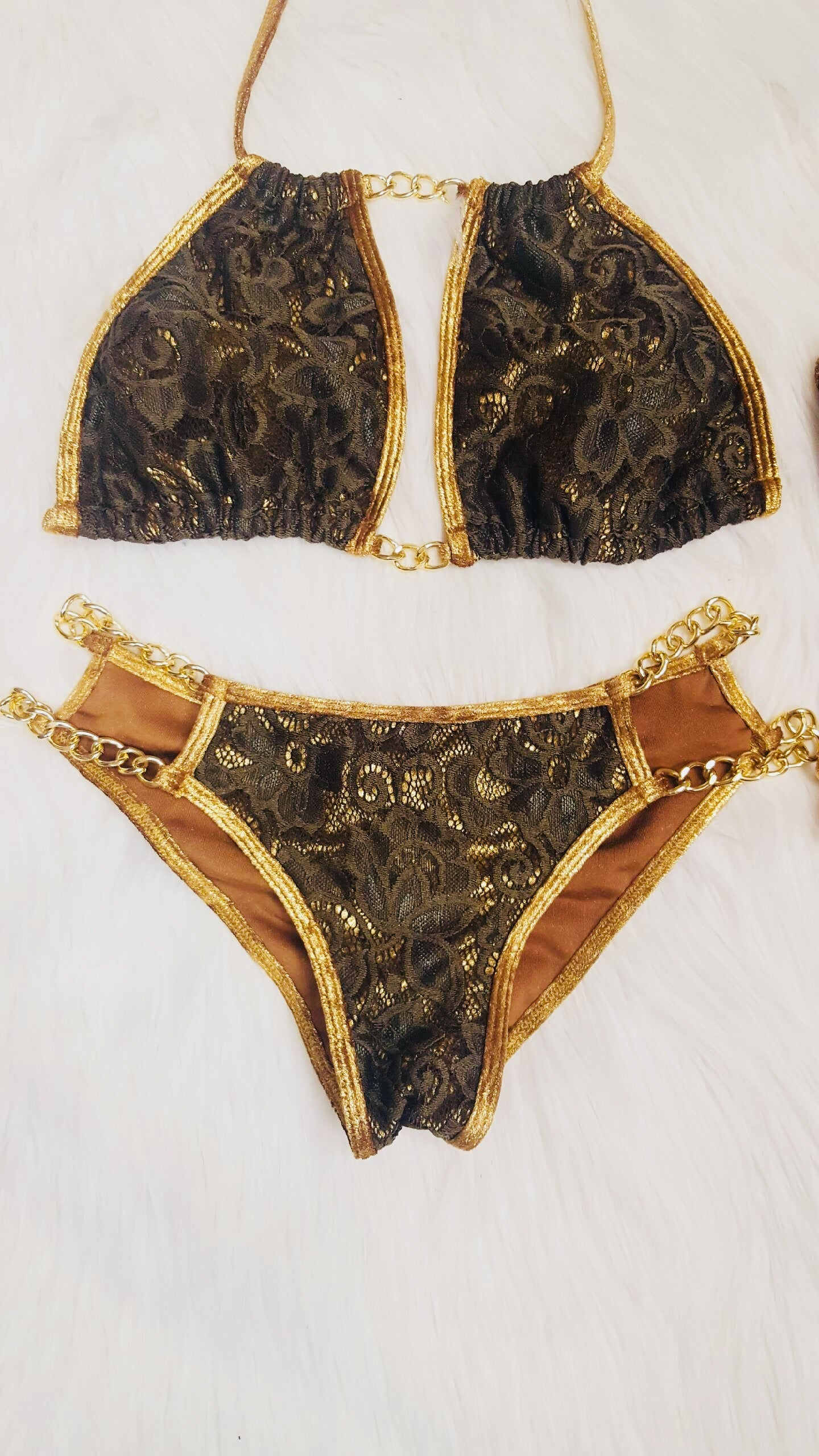 Gold/ Green chain bikini