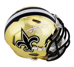 Alvin Kamara Signed Chrome Mini Helmet