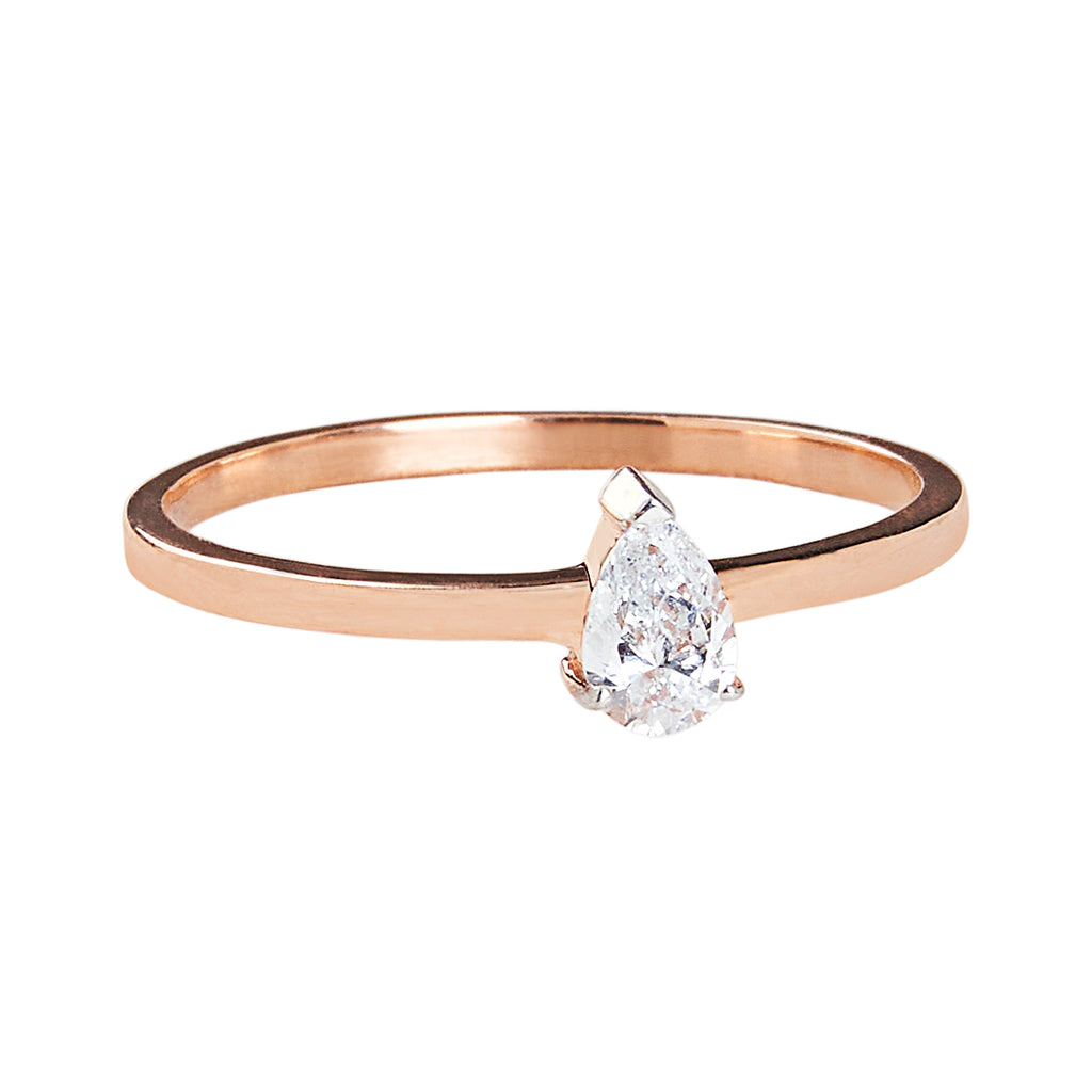 Diamond Teardrop 10K Rose Gold Solitaire Ring