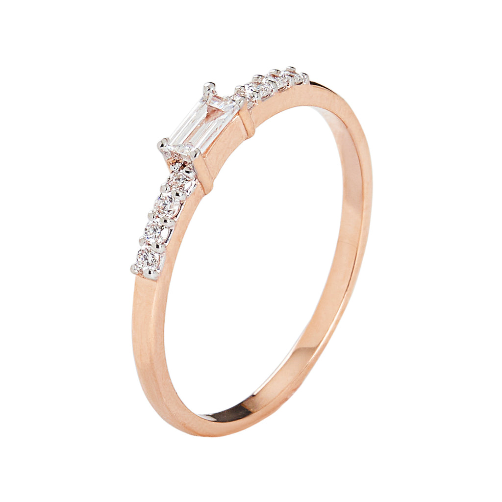 Diamond Baguette Engagement 10kt Rose Gold Ring