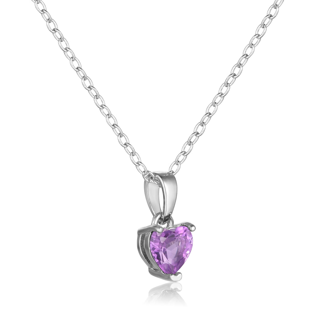 Sterling Silver Heart Shaped Purple Amethyst Pendant Necklace