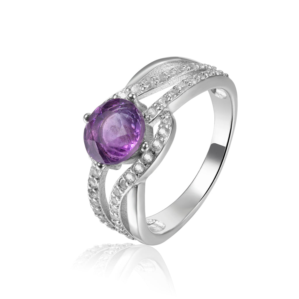 Luxurious Round cut Natural Amethyst Ring with White Sapphire